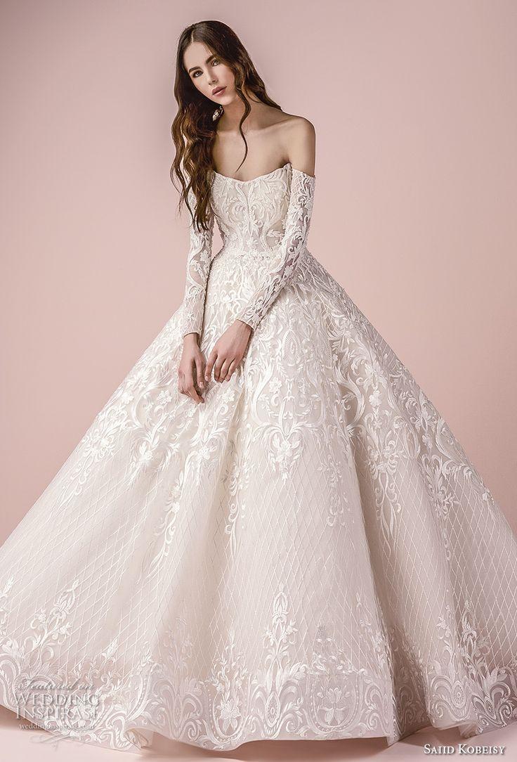 saiid kobeisy 2018 bridal long sleeves strapless off the shoulder v neck heavily embellished bodice princess ball gown wedding dress (3255) mv -- Saiid Kobeisy 2018 Wedding Dresses #weddingdress