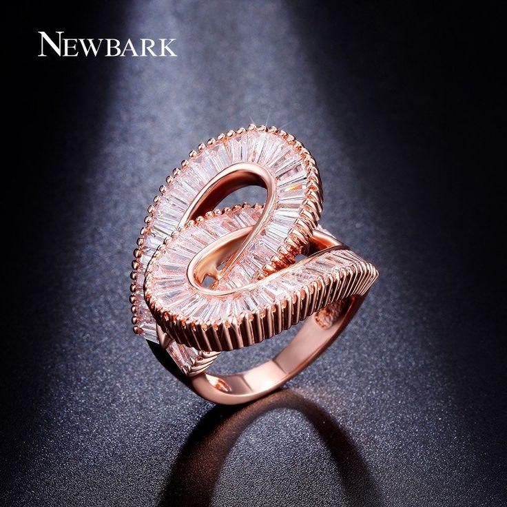 NEWBARK Retro Rings 18K Rose Gold Plated Tapered Cubic Zircon Inlay Interlocking Crossover Party Ring Women