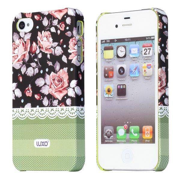 Pink roses design donker hoesje voor de iPhone 4 / 4s