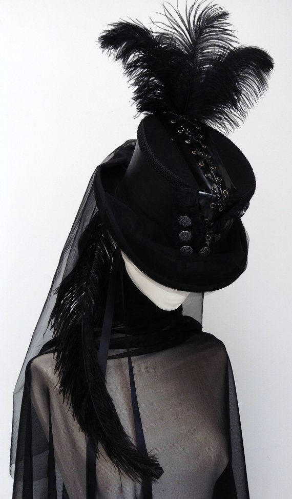 Steampunk black chain corset riding top hat  Lady Amadeus