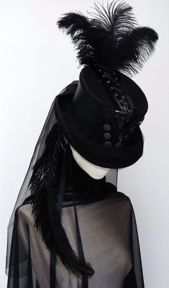 Steampunk black chain corset riding top hat  Lady Amadeus