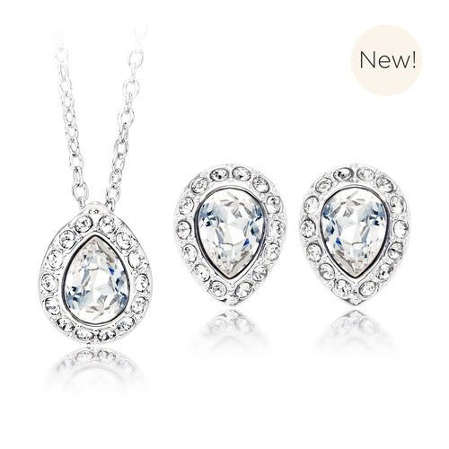 Christie Pear Pendant & Earrings Set with Clear Swarovski® Crystals