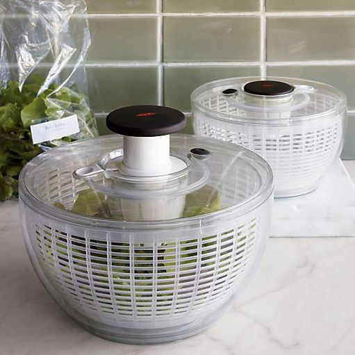 Now available in mini size, this see-through plastic spinner whisks water off greens, herbs and berries with a quick press of the pump. Press the brake to stop motion. Nonslip ring grips countertops; knob locks down for storage convenience.