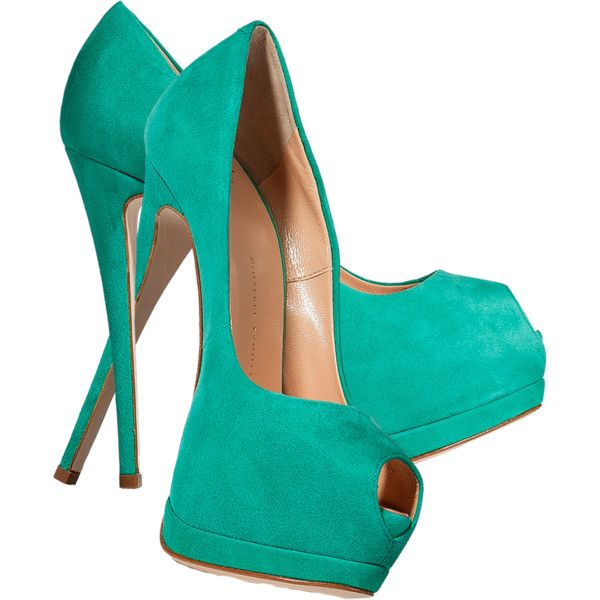 Giuseppe Zanotti Mint Green Suede Peep Toe Pumps ❤ liked on Polyvore