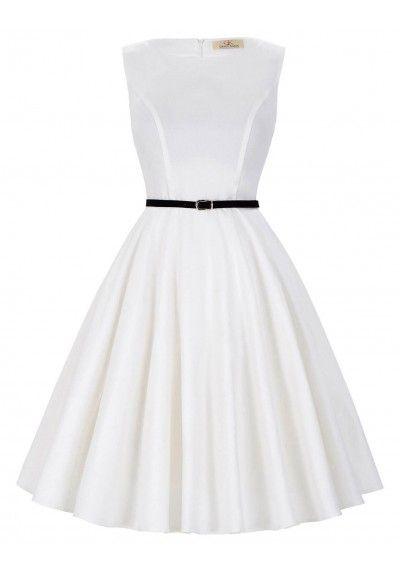 Vestido Blanco Pin Up. Moda Años 50 en www.street21deluxe.com
