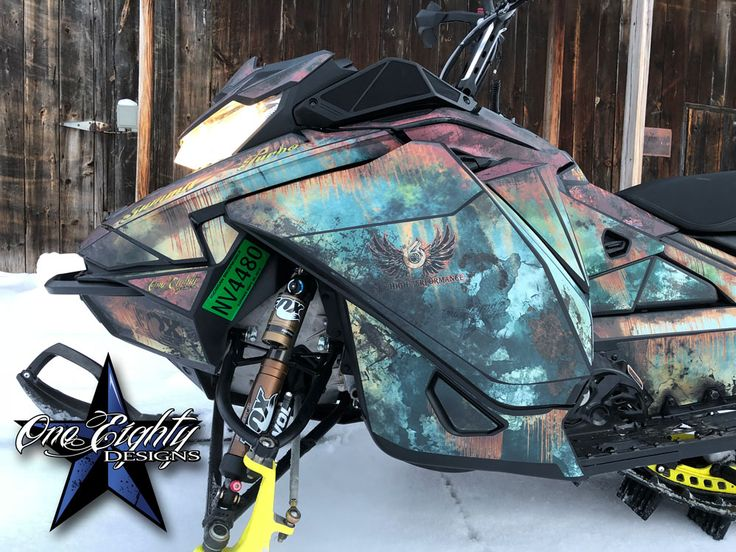 Rust style vinyl wrap on a new Ski-Doo Summit 850 Turbo. #patina #vinylwrap #snowmobile #skidoo