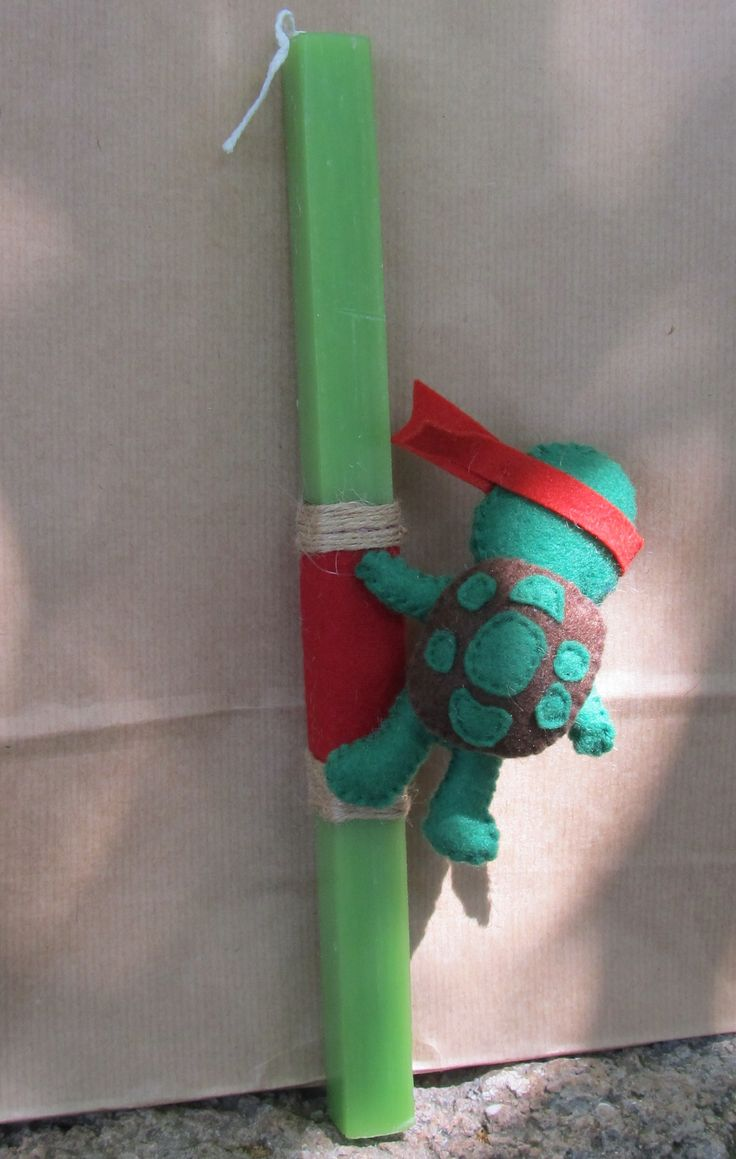 Scented Easter candle decorated with ninja turtle Raphael!