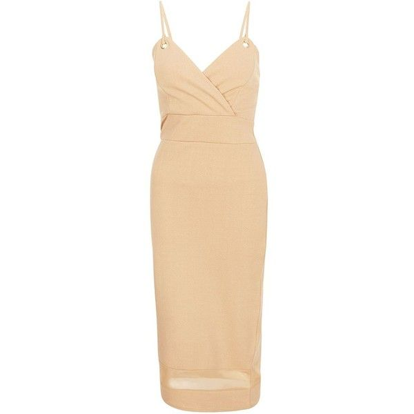 Cameo Rose Camel Halter Eyelet Dress ($28) ❤ liked on Polyvore featuring dresses, camel, spaghetti strap bodycon dress, bodycon dress, beige dress, mesh bodycon dress and going out dresses