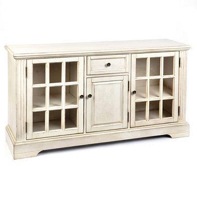 Wood Cream 3-Door Media Cabinet | Kirklands
