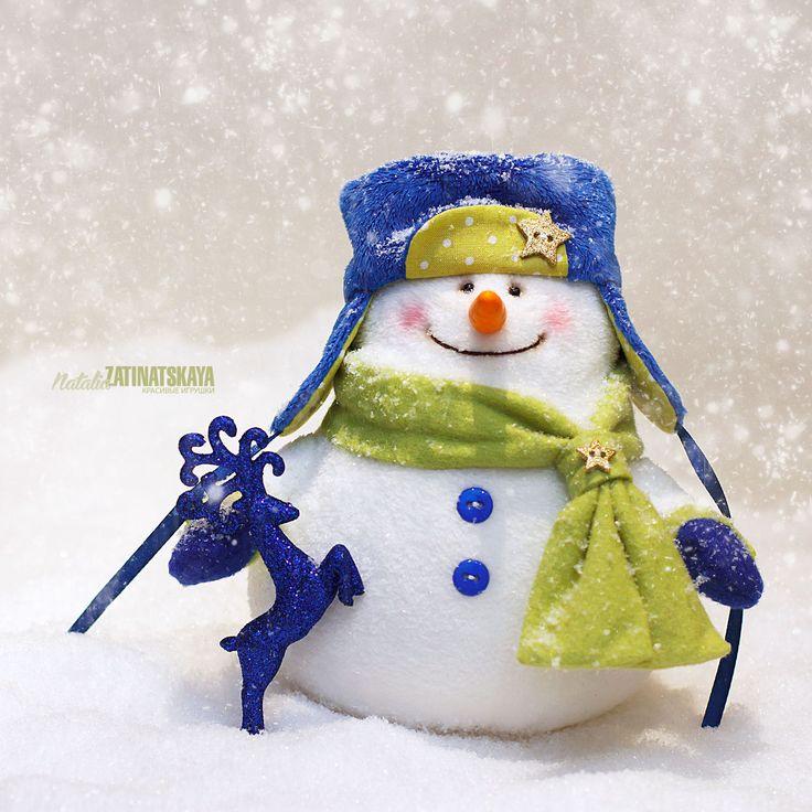Купить Добрый и пушистый Снеговик - белый, синий, зеленый, салатовый, снеговик, снеговики, снеговичок, снеговички