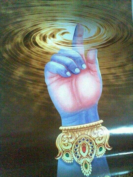 I am one. I am the beginning and I am the end. I am Krishna. The pictures appears to me like the universe with Krishna's finger at the center, thus controlling everything.