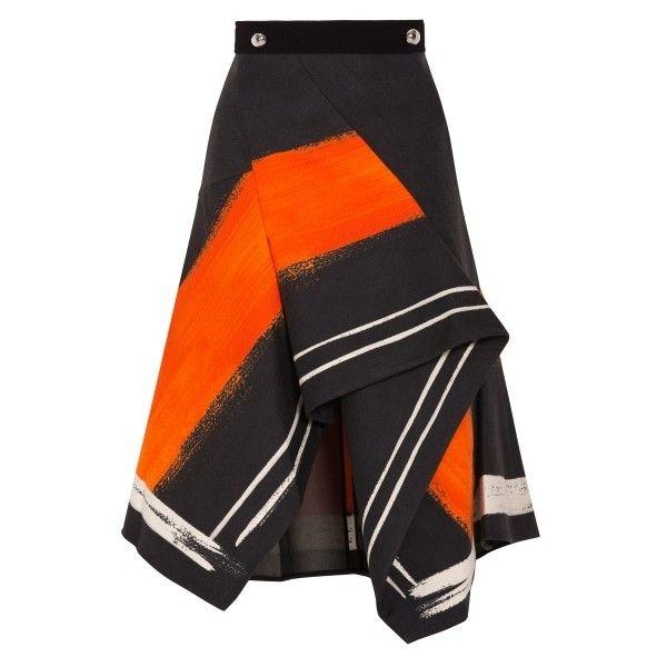 Peter Pilotto Aneta Asymmetric Skirt found on Polyvore featuring skirts, multi, asymmetrical skirt, black knee length skirt, black asymmetrical skirt, jersey knit skirt and peter pilotto