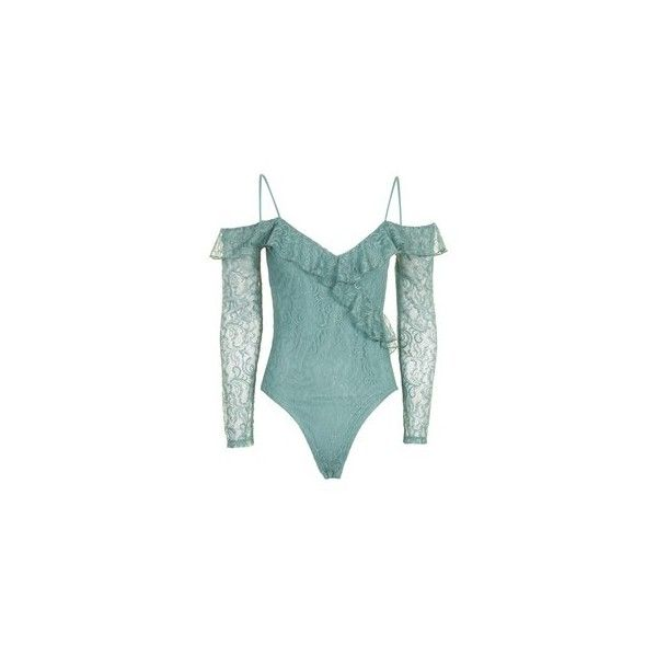 Topshop Petite Lace Cold Shoulder Body (245 HRK) ❤ liked on Polyvore featuring tops, long sleeve lace top, petite long sleeve tops, cold shoulder tops, green lace top and petite tops