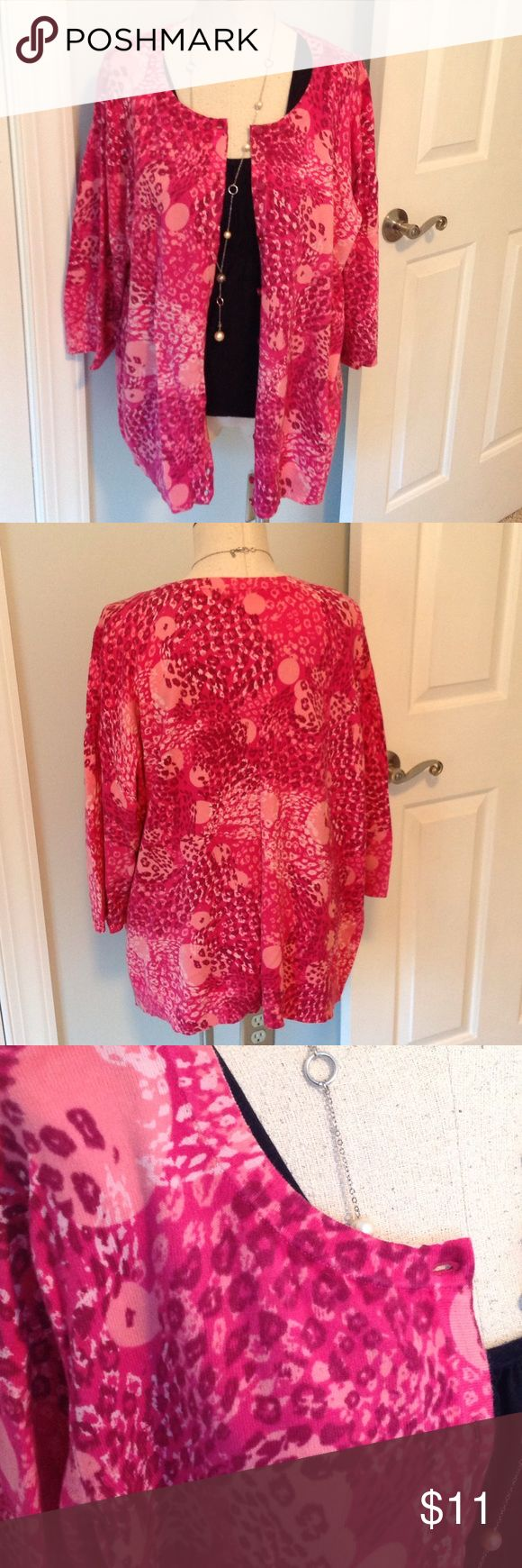 "Gorgeous pink cardigan sweater Shades of pink and 3/4 sleeves. 26"" long HAMPSHIRE STUDIO Sweaters Cardigans"