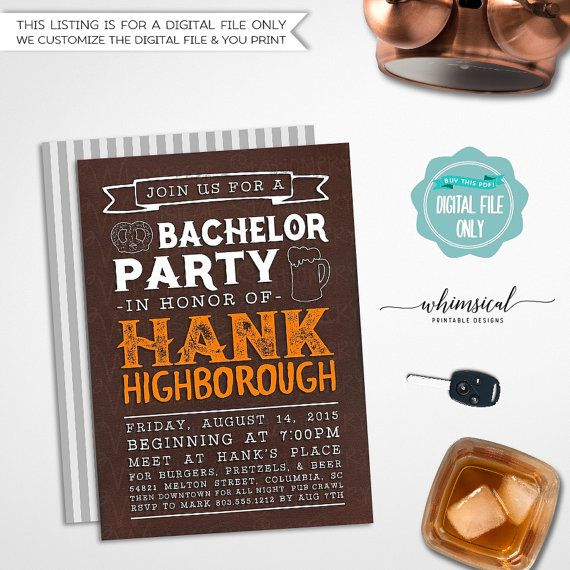 Bachelor Party Invitation Cognac Leather & Beer (Printable File Only) Bachelor Invitation, Guys Night Out, Stag Night, Last Night   Get the guys together for your last big night with our Leather & Beer printable invitation! Listing comes with complimentary - and complementary! - back side file (as shown in listing photo only). Back side file includes our logo and website information, which cannot be removed. Choose from three different faux-leather backgrounds: black, cognac, and tan!...