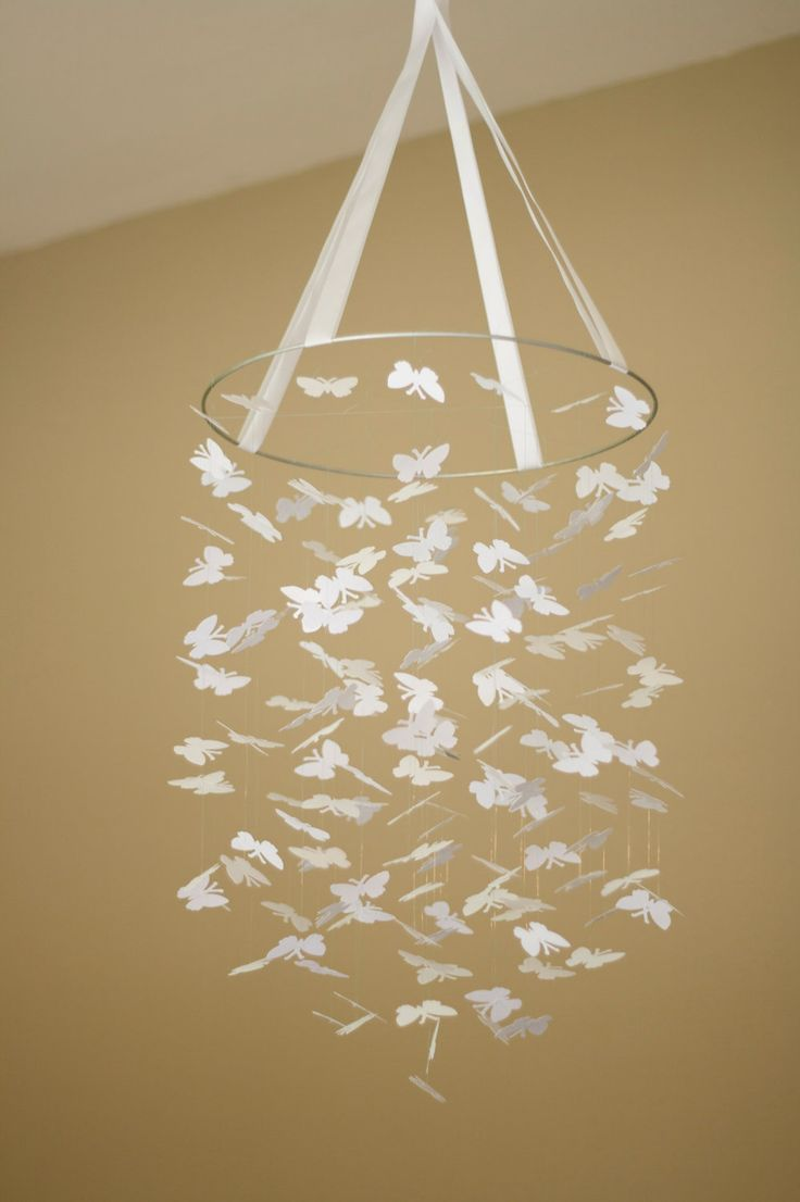 Diy butterfly mobile butterfly chandelier mobile - White Bright Butterfly Mobile Great For Baby Shower Gifts Nurseries Bedrooms Birthdays