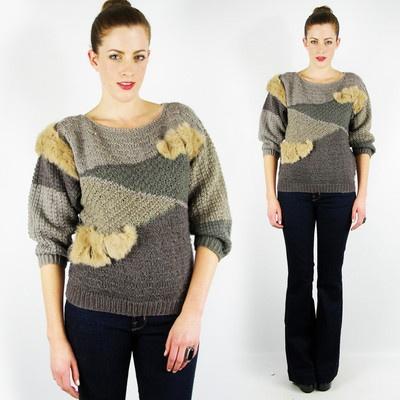 vtg 80s RABBIT FUR chunky WOOL 3/4 PUFF sleeve crochet knit sweater jumper top S $58.00