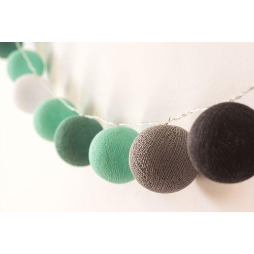 Menta-szürke gömblámpa füzér (Cotton Ball Lights) babaszoba