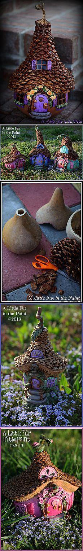 Изумительные сказочные домики из тыквы, полимерной глины и шишек.