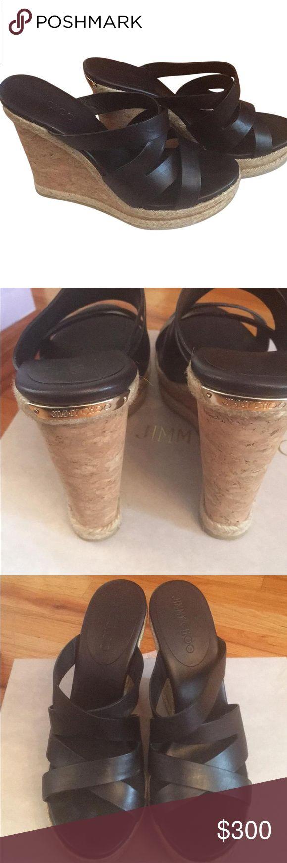 Jimmy Choo Wedges Brand new leather wedges Jimmy Choo Shoes Wedges