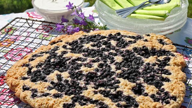 Oppskrift på Sconeskake med blåbær