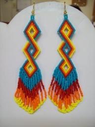 ojibwe beadwork patterns   Native Amerian Beaded Twisted Turquoise, Red, Orange and Yellow ...