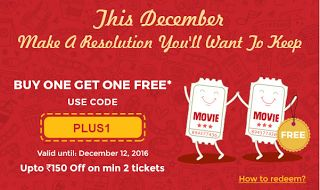 BookMyShow is India's biggest online movie and events ticketing brand. The website caters to ticket sales for movies plays concerts and sporting events via the online platform. Launched in 2007.This month of December will be a remember able one. As Bookmyshow is providing free BOGO Offer on movie tickets upto Rs.150 off additional cashback offers too from PayZapp freecharge Jio Money Airtel Money Etc.  How to get theOffer:-  VisitBookmyshowor Download app -Android|iOS|Windows  Choose your…