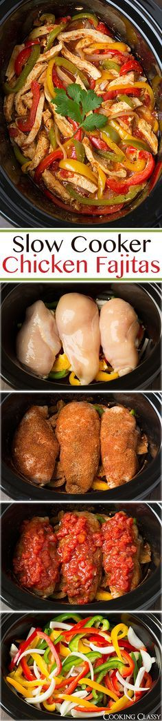 """Slow Cooker Chicken Fajitas - these are easiest chicken fajitas yet they taste…"