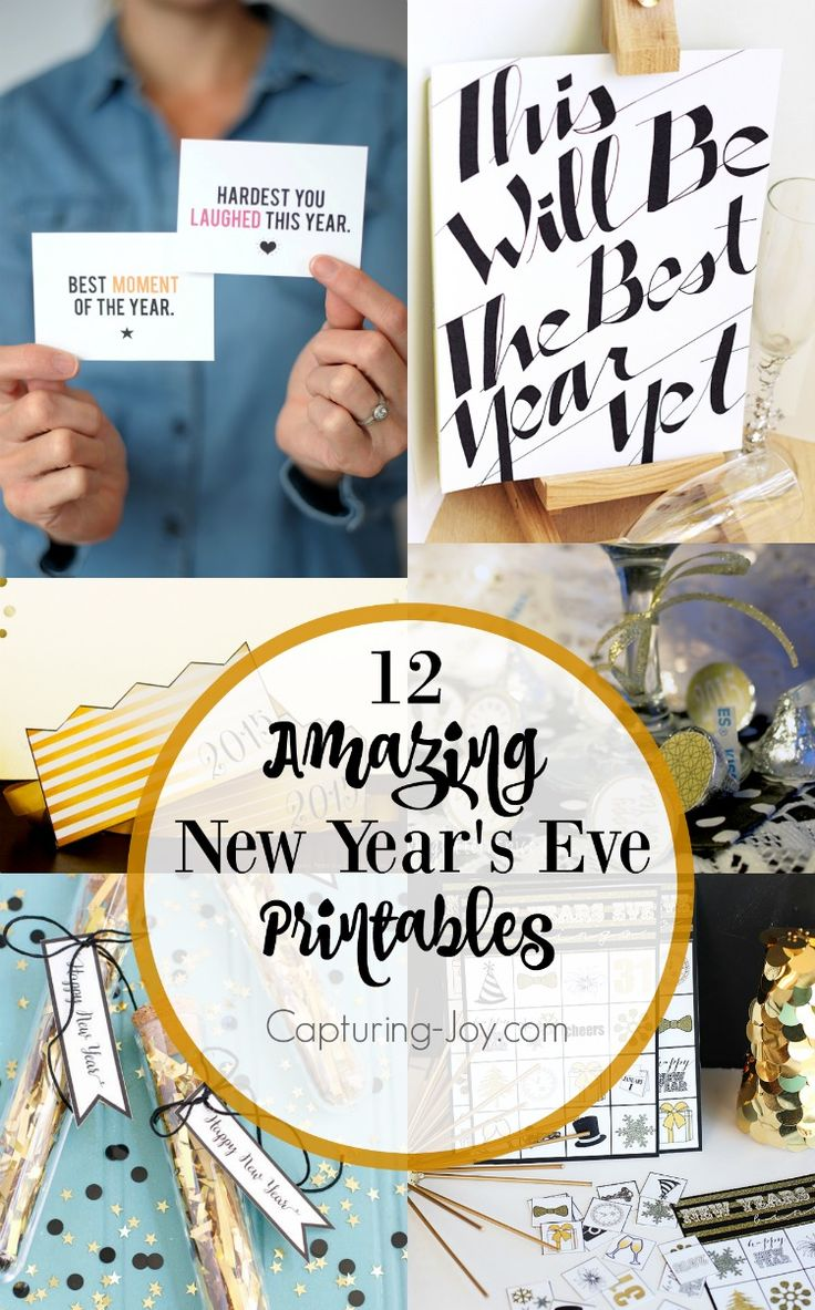 12 New Year's Eve Printables such as a photo booth, bingo game for kids, and decorations