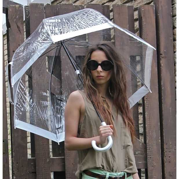 """Paraguas Transparente """"Birdcage"""" Rosa"""