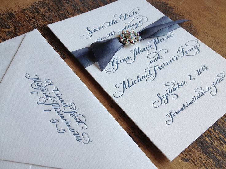 Calligraphy Letterpress Wedding Save the Date with Silk and Vintage Styled Embellishment Love No.1075. $8.00, via Etsy.