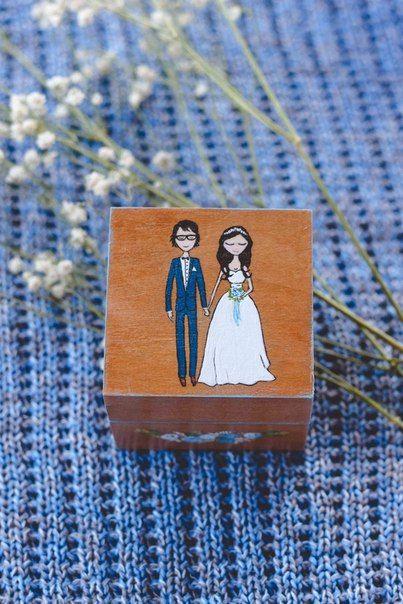 Свадебные шкатулки для колец из дерева с росписью. Авторский Киоск