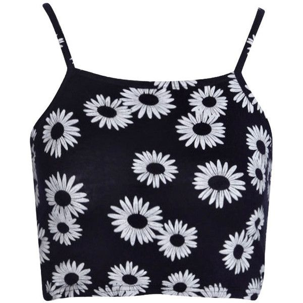 Boohoo Jamie Daisy Print Spaghetti Strap Crop Top found on Polyvore