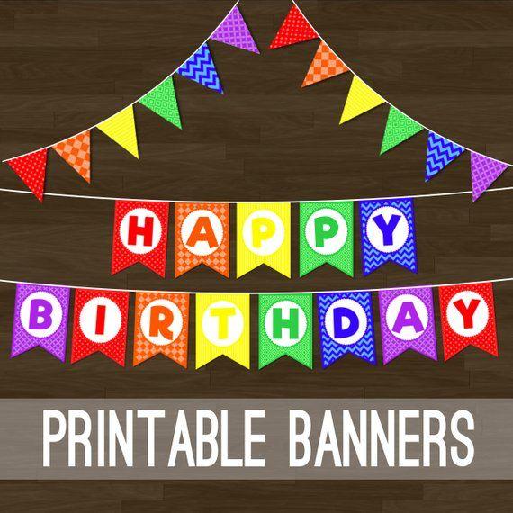 Printable Rainbow Bunting - Rainbow Flag Banner and Happy ...