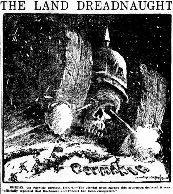 "World War I Live on Twitter: ""Dec 6th 1916: ""The Land Dreadnaught"" (US cartoon). https://t.co/UE5sKEWgao"""