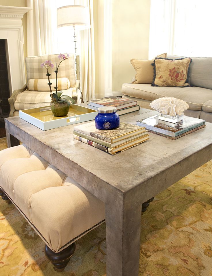 coffee table with ottoman underneath. | Living Rooms