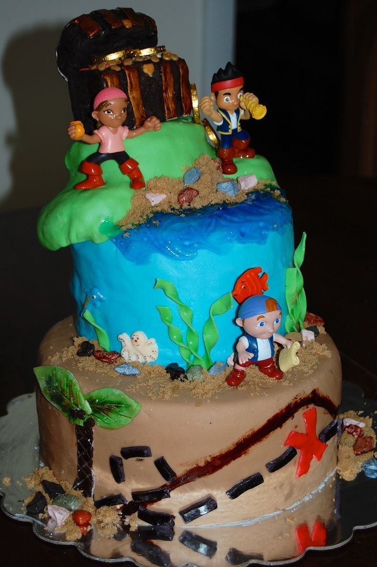 Cake ideas on pinterest pirate cakes marshmallow fondant and - Jake And The Neverland Pirates Cake Boys Party Cake Id Pinterest