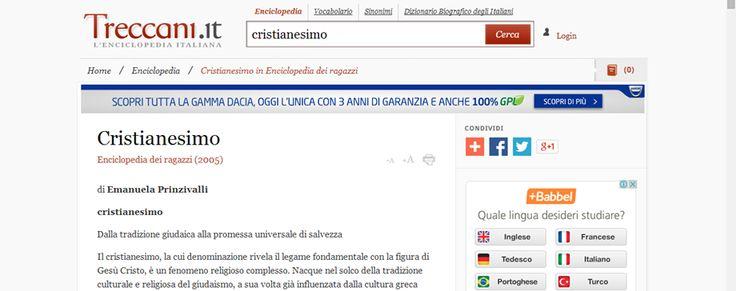 Cristianesimo http://www.treccani.it/enciclopedia/cristianesimo_(Enciclopedia-dei-ragazzi)/
