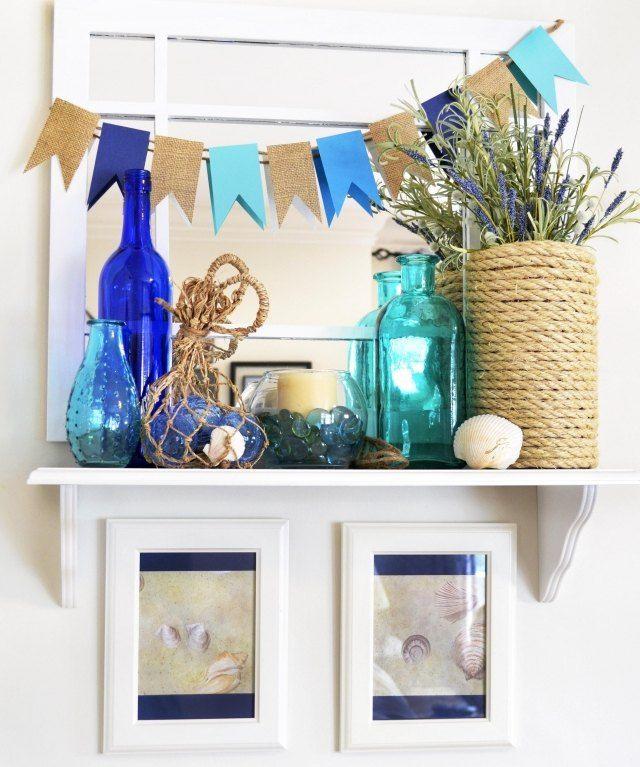 maritime deko ideen wohnzimmer blaues glas seil muscheln maritim wohnzimmer pinterest deko. Black Bedroom Furniture Sets. Home Design Ideas