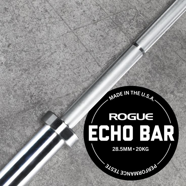 Featuring a bright zinc finish and proprietary sleeve design, the Rogue 28.5MM Echo features quality not found in traditional economy barbells. Get yours at Rogue today!