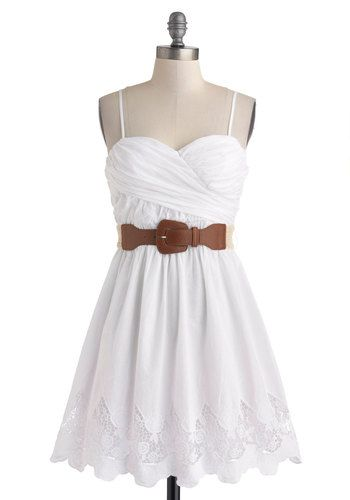 Country Craft Festival Dress - Cotton, White, Solid, Lace, Belted, Ruching, Casual, A-line, Spaghetti Straps, Sweetheart, Daytime Party, Graduation