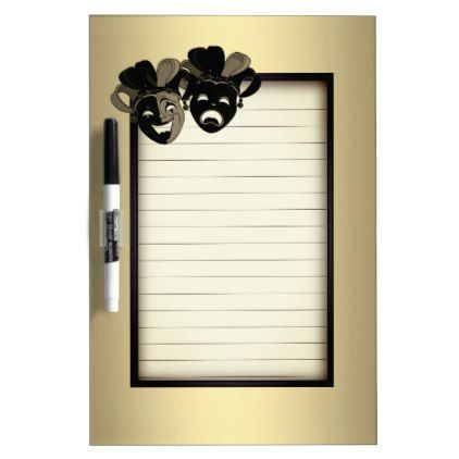 Comedy and Tragedy Theater Gold Dry-Erase Board - golden gifts gold unique style cyo