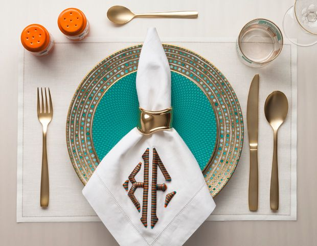 Charger: Syracuse by Haviland, 390; dessert plate: Tresor by Raynaud, 158; flatware: The Midas Cutlery by Seletti, 238; tumbler: vintage, 85 the set of six; red-wineglass: Royal by Moser, 125; napkin ring: Elsa Peretti 18k gold Bone cuff, 10,800; placemat: Mydrap, 55 the roll of 12; custom-monogrammed napkin: 540 the set of 12.