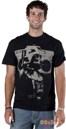 This Darth Vader shirt features Vader resting his boom box on his shoulder.
