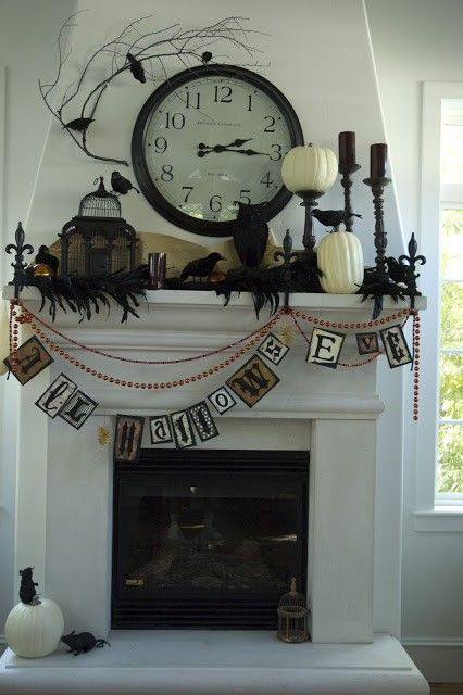 2014 Halloween Fireplace with Vintage Clock - Crow, Banner, Pumpkin Light, Cage  #2014 #Halloween