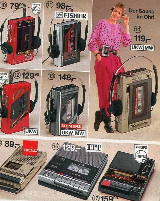 Impressionen der 80er: Walkman und Cassettenspieler