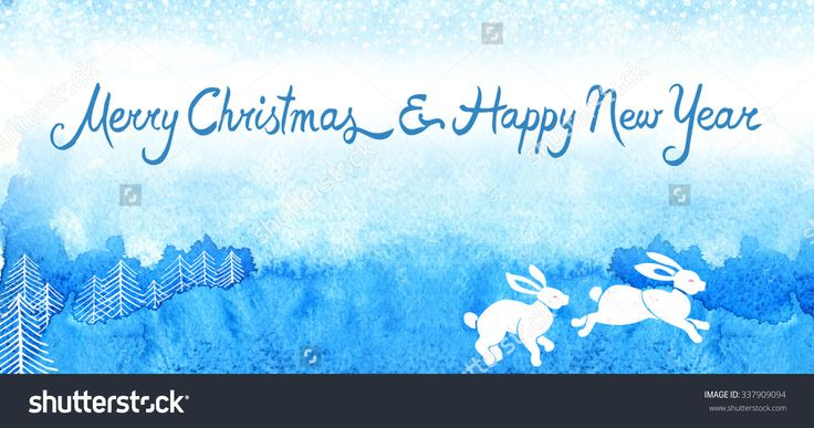 "Ready-Made Christmas Card, Hand-Drawn Watercolor Design. Full Bleed Size 8.39"" X 3.86"" (213 X 98 Mm), Trim Size 8.27"" X 3.74"" (210 X 95 Mm) Стоковые фотографии 337909094 : Shutterstock"