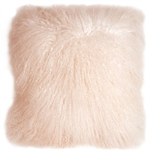 Pillow Decor Mongolian Sheepskin Pastel Pink Throw Pillow found on Polyvore featuring home, home decor, throw pillows, light pink throw pillows and pillow decor