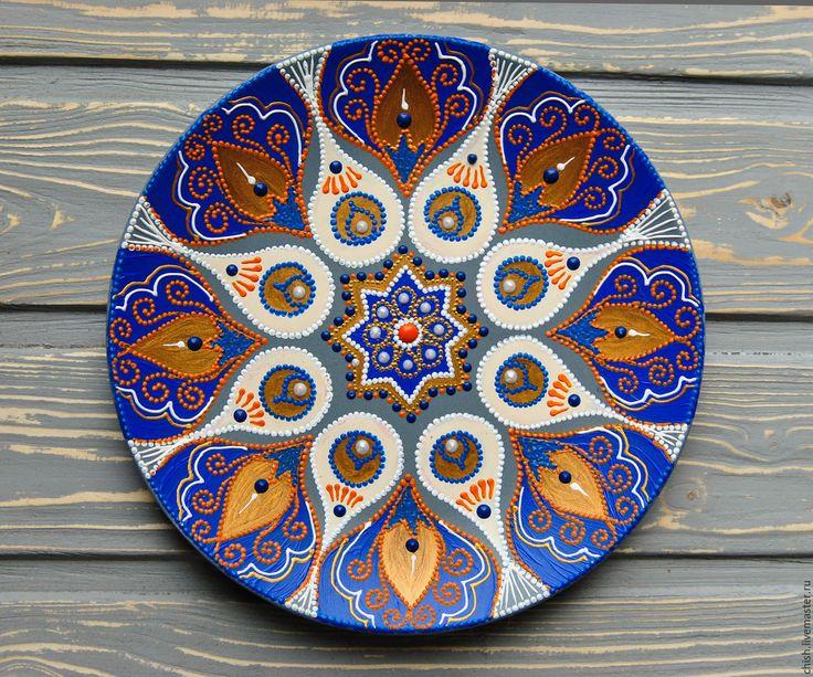 Купить Декоративная тарелка Синие акценты - синий, восточный стиль, бохо шик, декор для интерьера