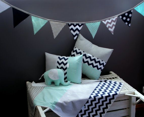 Stylish baby boy nursery decor set.  Nursery decor set includes the following;    X1 Baby blanket : Made from four separate panels of designer